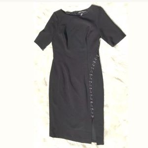 WHBM Size 4 Black Dress Cocktail Fitted Ponte